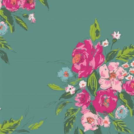 Rayon fabric - teal AGF Extenpore Gala  x 10cm