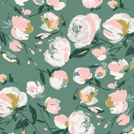 Tissu rayonne AGF Everlasting Blooms - vert de gris x 10cm