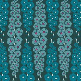 Rayon fabric - green AGF Gladiolumns Deepbluem x 10cm
