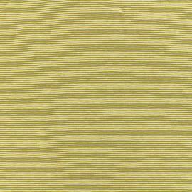 Tissu Jersey Fines Rayures - moutarde x 10cm