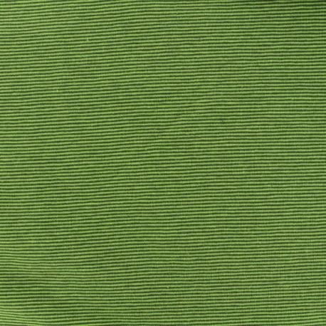 Jersey Fabric - green/dark green fine stripes x 10cm