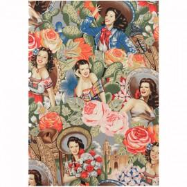 Alexander Henry cotton fabric - multi Las Senoritas x 60cm