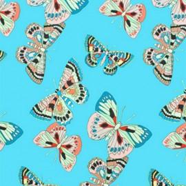 Tissu coton Alexander Henry Marilia - bleu x 10cm