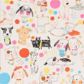 Tissu Alexander Henry Puppy Polka Dot - écru x 10cm