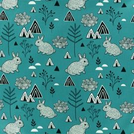 Tissu Jersey Polar Rabbit - Paon x 10cm