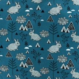 Tissu Jersey Polar Rabbit - Bleu x 10cm