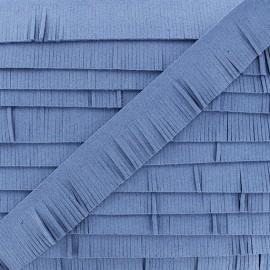 Suédine en Franges - bleu denim x 50cm