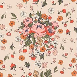 Tissu coton AGF Soulmate Blooms Lust - ivoire x 10cm