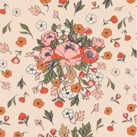 Cotton fabric - ivory AGF Soulmate Blooms Lust  x 10cm