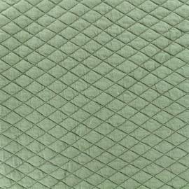 Tissu matelassé simple face losanges - Vert sauge x10cm