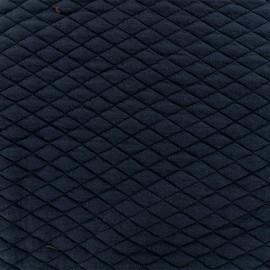 Tissu matelassé simple face losanges - Bleu marine x10cm