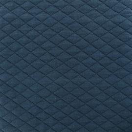 Tissu matelassé simple face losanges - Bleu Pétrole x10cm