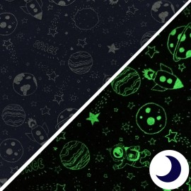 Phosphorescent Jersey Fabric - Sapce - navy x 10cm