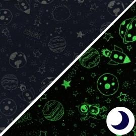 Tissu Jersey Phosphorescent Space - marine x 10cm