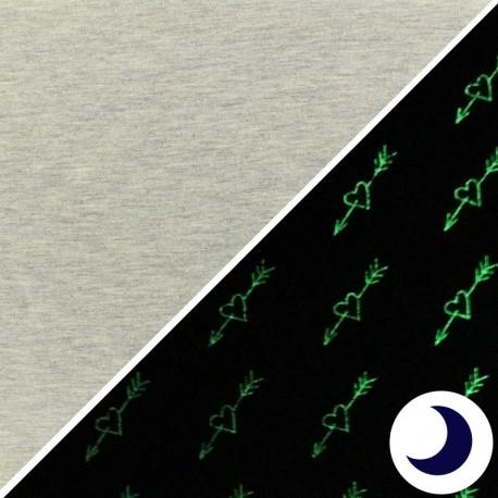 Tissu Jersey Phosphorescent Cupidon - gris x 10cm