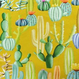 """Tissu sweat léger """"Cactus mania"""" - jaune x 10cm"""