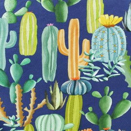 """Tissu sweat léger """"Cactus mania"""" - Bleu x 10cm"""