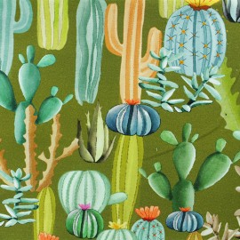 Light sweatshirt fabric - Green Cactus Mania  x 10 cm