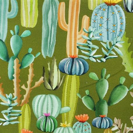 "Tissu sweat léger ""Cactus mania"" - vert x 10cm"