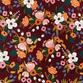 Tissu rayonne Cotton Steel - Lively Floral Burgundy x 10cm
