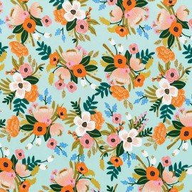 Rayon fabric Cotton Steel - Lively Floral Mint x 10cm