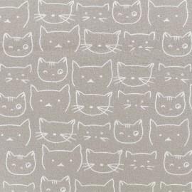 Tissu Flanelle Chaton - Gris clair x 10cm