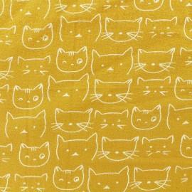 Tissu Flanelle Chaton - Moutarde x 10cm