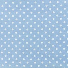 Tissu Flanelle Petit pois - Bleu Niagara x 10cm