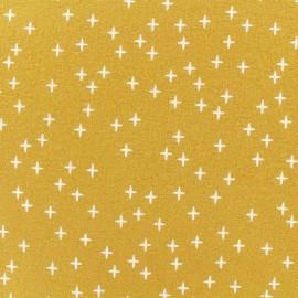 Flannel Fabric - Mustard Cross x 10 cm