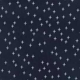 Flannel Fabric - Dark blue Cross x 10 cm