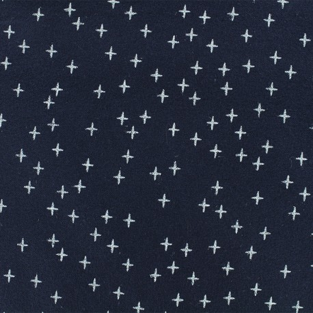 Tissu Flanelle Cross - Bleu Marine x 10cm