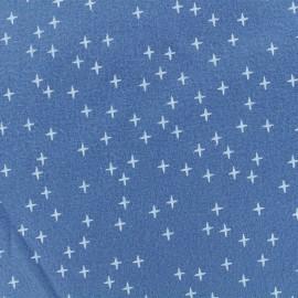 Tissu Flanelle Cross - Bleu Houle x 10cm