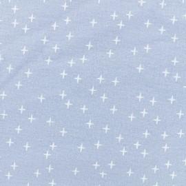 Tissu Flanelle Cross - Bleu niagara x 10cm