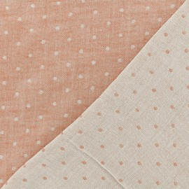 Reversible Double Gauze red Fabric Chambray with dots - Kiyohara x 10cm