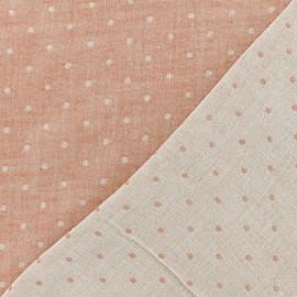 Tissu Kiyohara double gaze de coton reversible Chambray à pois - rouge x 10cm