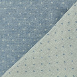 Reversible Double Gauze bleu jean Fabric Chambray with dots - Kiyohara x 10cm