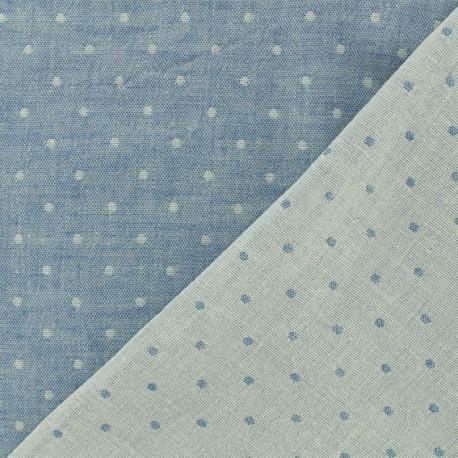 Tissu Kiyohara double gaze de coton reversible Chambray à pois - bleu jean x 10cm
