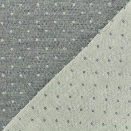 Tissu Kiyohara double gaze de coton reversible Chambray à pois - bleu marine x 10cm