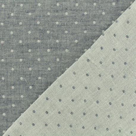 Reversible Double Gauze navy blue Fabric Chambray with dots - Kiyohara x 10cm
