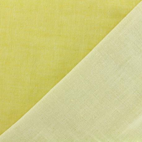 Tissu Kiyohara double gaze de coton reversible Chambray - jaune x 10cm