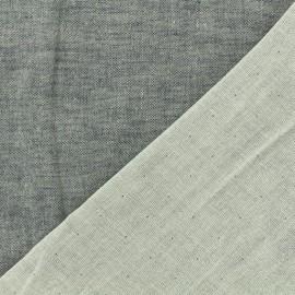 Tissu Kiyohara double gaze de coton reversible Chambray - gris perlé x 10cm