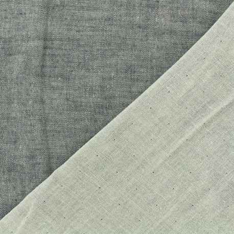 Reversible Double Gauze pearl grey Fabric Chambray - Kiyohara x 10cm