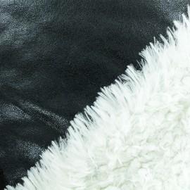 Tissu fourrure réversible suédine - noir x 10cm