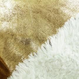 Tissu fourrure réversible suédine - or x 10cm