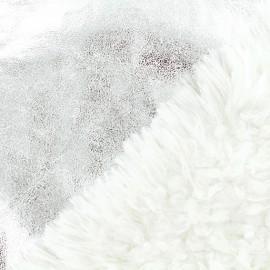 ♥ Coupon 80 cm X 150 cm ♥ Tissu fourrure réversible suédine - Argent