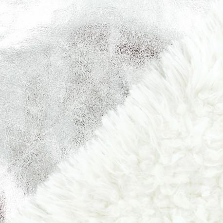 Tissu fourrure réversible suédine - Argent x 10cm