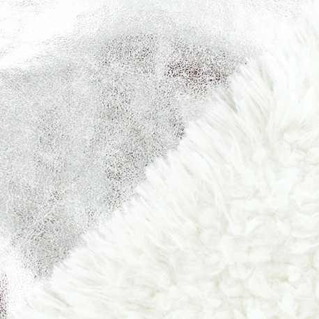 Fur fabric double sided - silver x 10cm