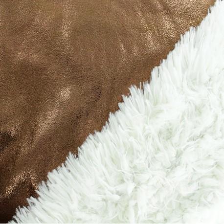 Tissu fourrure réversible suédine - Bronze x 10cm
