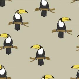 Organic Jersey Fabric - pale khaki Mr Tucan Bloome Copenhagen x 10cm