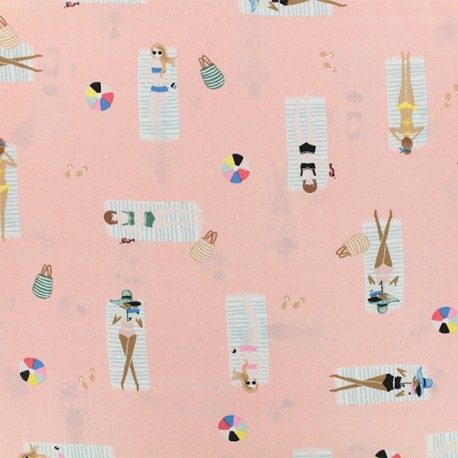 Coton/Rayon fabric - Cotton Steel Sun Girl Coral x 10cm